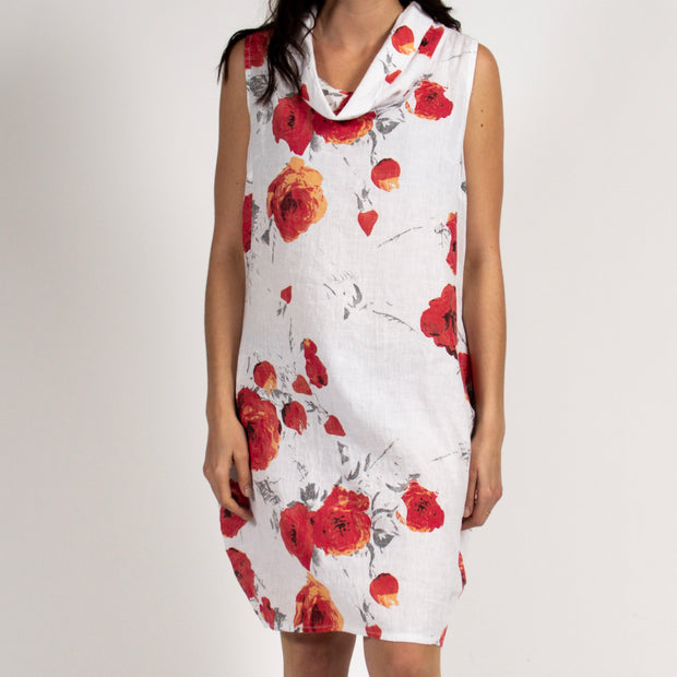 Poppy Cowl Neck Dress in Italian Linen