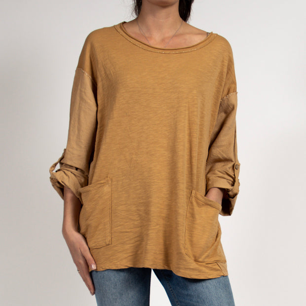 Tan Tunic Top with Metallic Detail in Italian Cotton