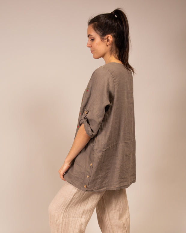 Italian Linen Embroidered Top