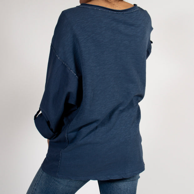 Blue Tunic Top with Metallic Detail in Italian Cotton