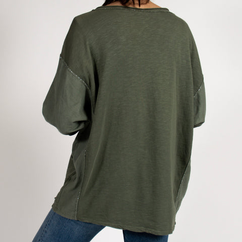 Green Tunic Top with Metallic Detail in Italian Cotton