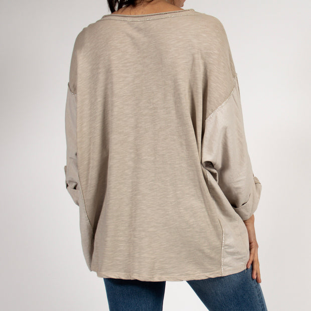 Beige Tunic Top with Metallic Detail in Italian Cotton