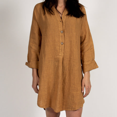 Camel Tunic Dress with Italian Linen