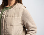 Knit Sleeve Quilted Jacket - Beige