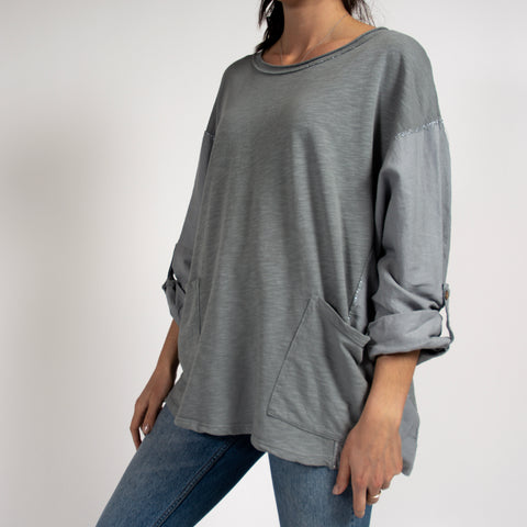 Grey Tunic Top with Metallic Detail in Italian Cotton