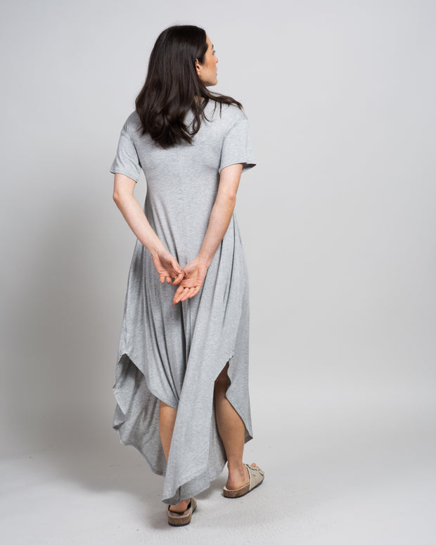 Modal Essential T-Shirt Dress in Heathered Grey