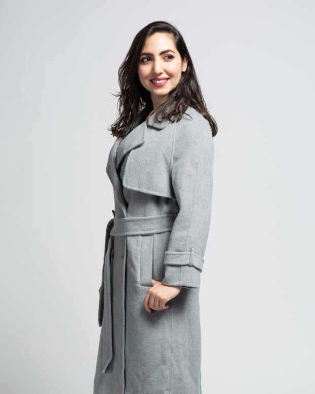 Wool Blend Trench Coat - Grey