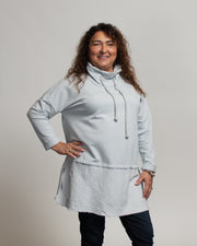 Faux Layer Tunic with Italian Linen - Ice Blue