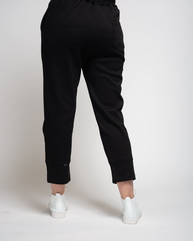 Pique Knit Elastic Waist Trouser - Black