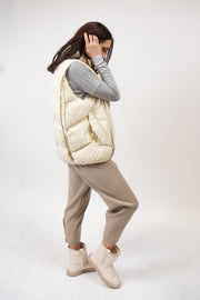 Chevron Puffer Vest in Cream