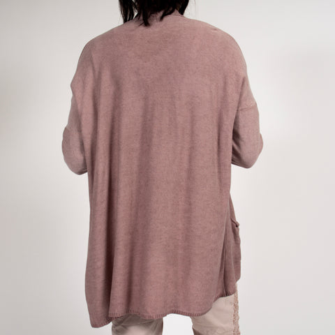 Pink Summer Dip Dyed Cardigan in Italian Knit