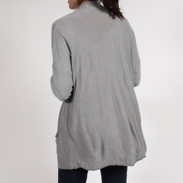 Grey Summer Dip Dyed Cardigan in Italian Knit