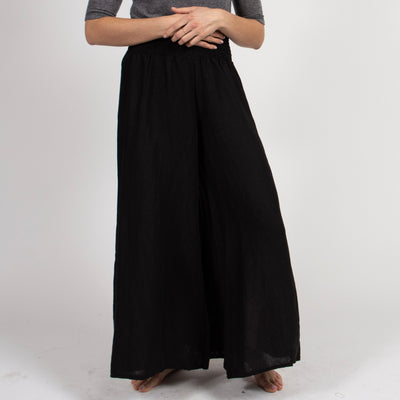 Black Smocked Culotte Pants in Italian Linen