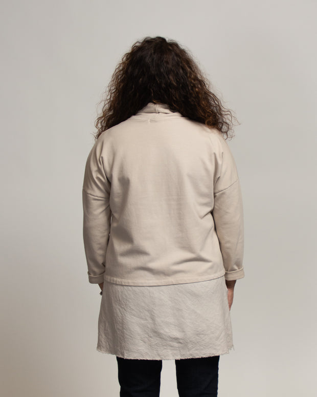 Faux Layer Tunic with Italian Linen - Tan