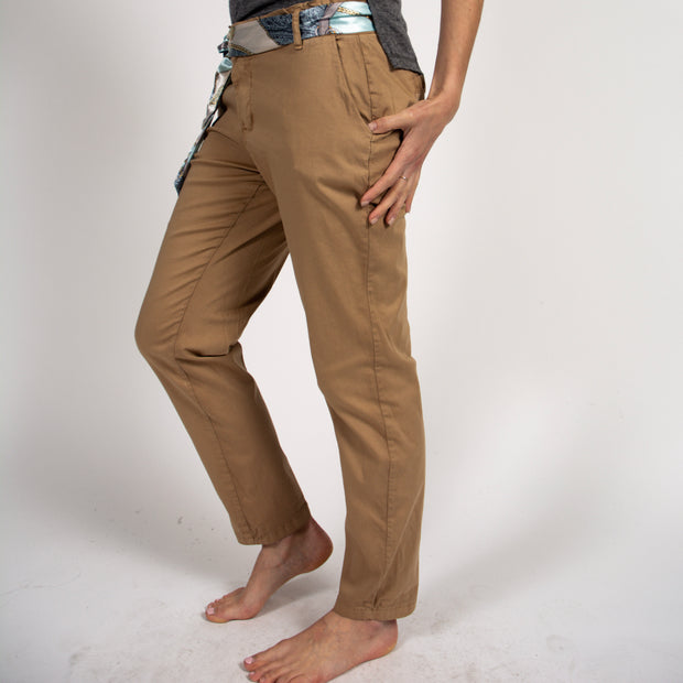 Tan Chino Pants in Italian Cotton