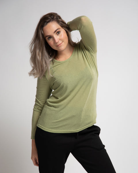 Wool Blend Lightweight Pullover - Green