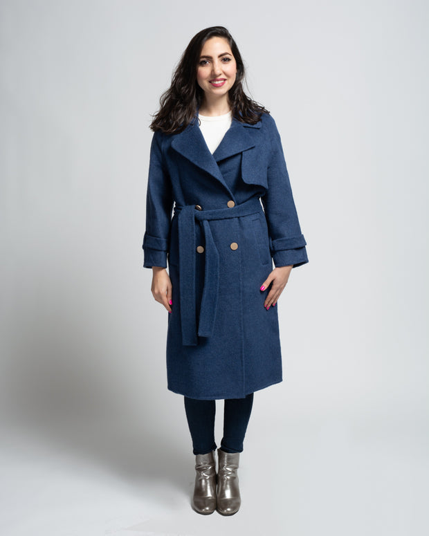 Wool Blend Trench Coat - Blue