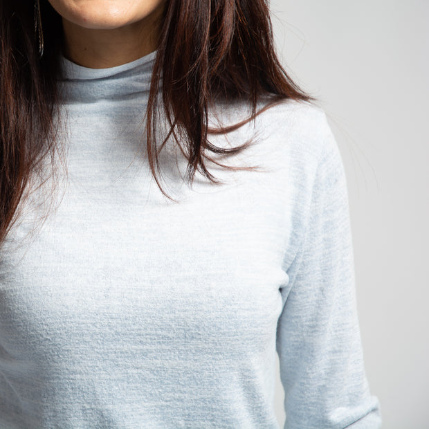Long Sleeve Mock Neck - Light Blue