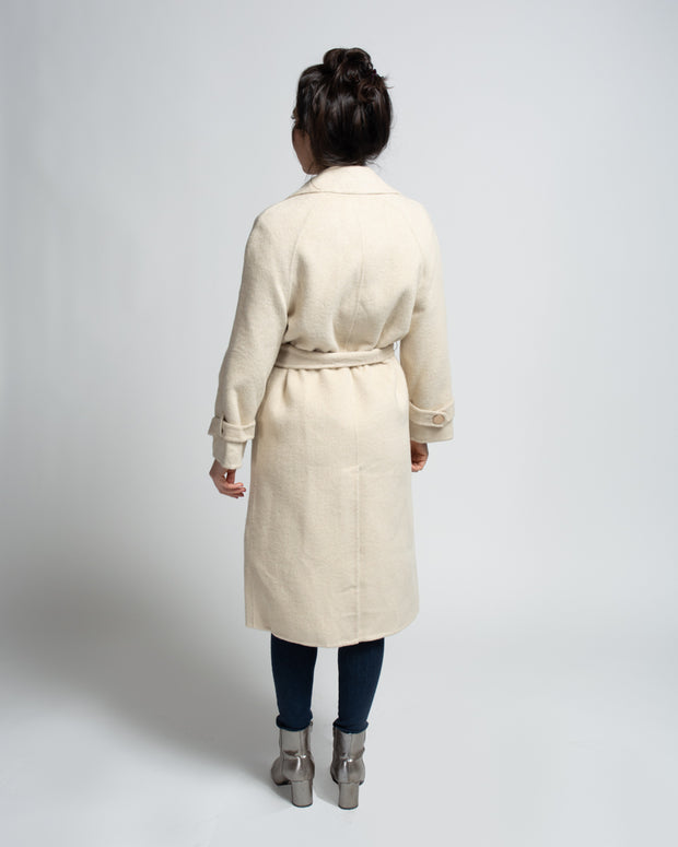 Wool Blend Trench Coat - Cream