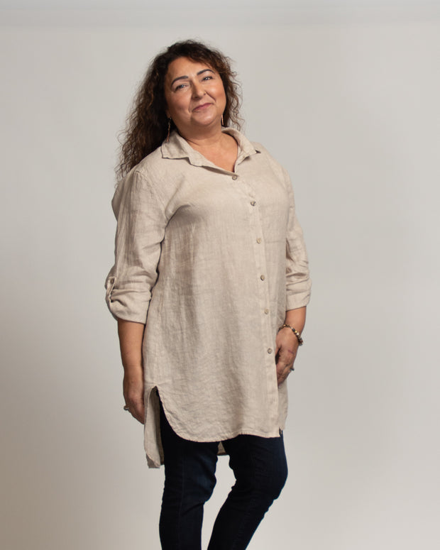 Linen Tunic Dress - Tan