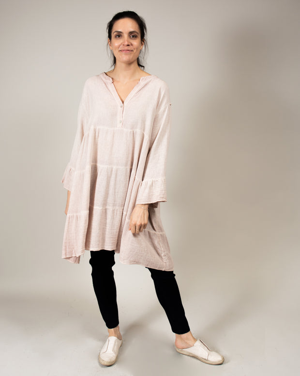 Italian Linen Tiered Tunic Top in Light Blue