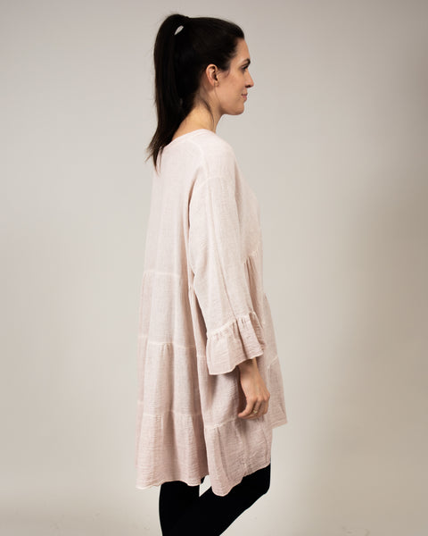 Italian Linen Tiered Tunic Top in Blush Pink