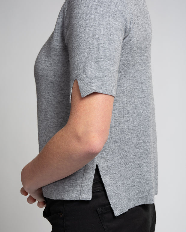 Band Collar Knit Tee - Grey