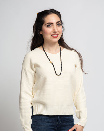 V-Neck Sweater - Cream