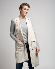 Open Front Vest with Lapels - Beige