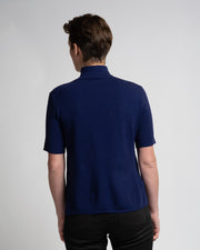 Band Collar Knit Tee - Blue