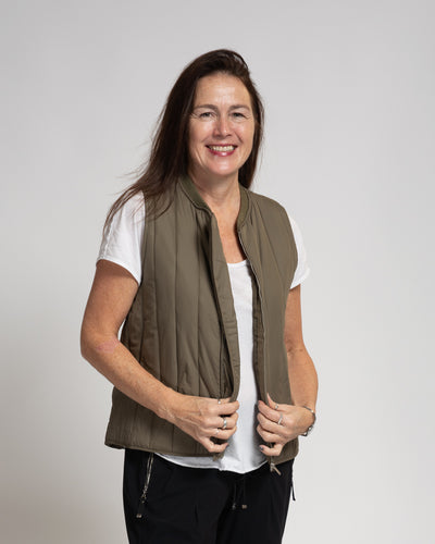Vertical Quilted Vest - Brown