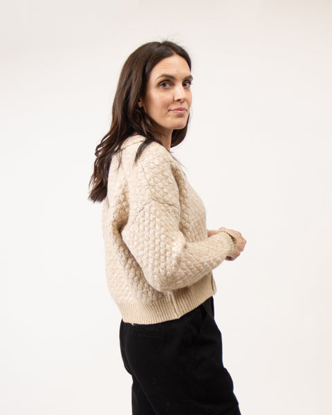 Braid Puff Knit Cardigan