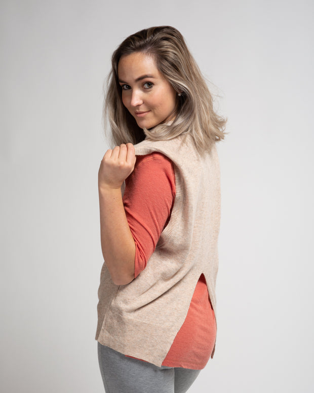 Split Back Sweater Vest - Beige