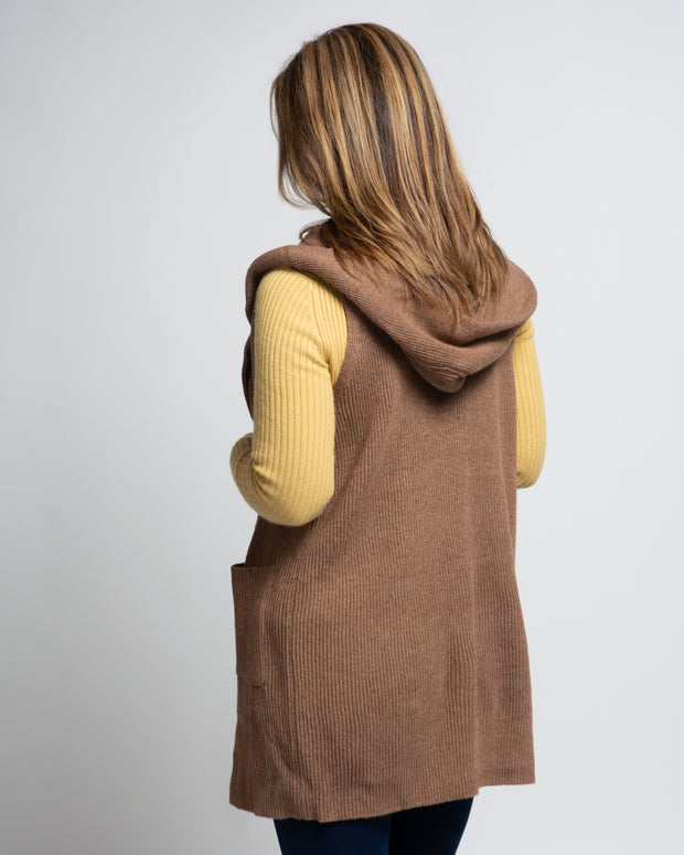 Sleeveless Cardigan with Hood - Camel
