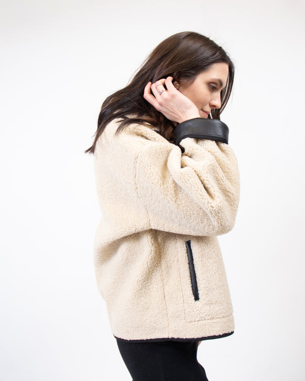 Sherpa Vegan Leather Jacket in Beige