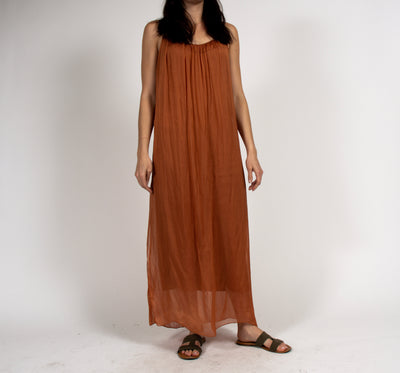 Full Length Rust Tank Dress Dress in Italian Silk