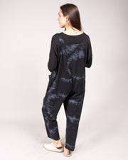 Ice-Dye Romper in Black/Grey