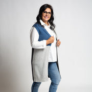 Colour Blocked Sleeveless Cardigan - Blue/Grey