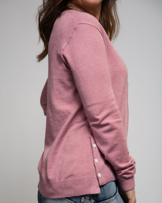 Side Button Detail Cardigan - Pink