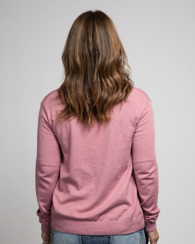Side Seam Button Sweater - Pink