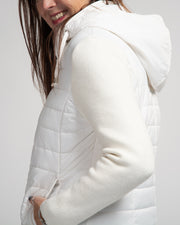 Quilted Knit Zip Jacket - White