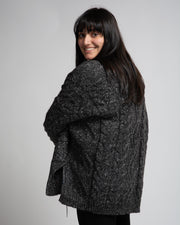 Chunky Cable Knit Cardigan - Black Melange