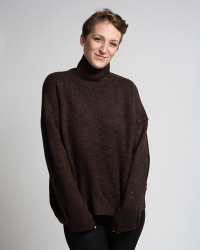 Drop Shoulder Turtleneck - Brown