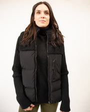 Sherpa Puffer Vest in Black