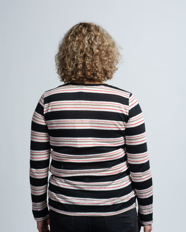 Multi-Stripe Long Sleeve Tee - Pink