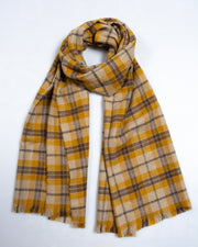 Mustard & Grey Checked Blanket Scarf