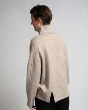 Drop Shoulder Turtleneck - Beige