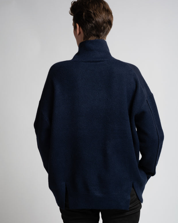 Drop Shoulder Turtleneck - Navy