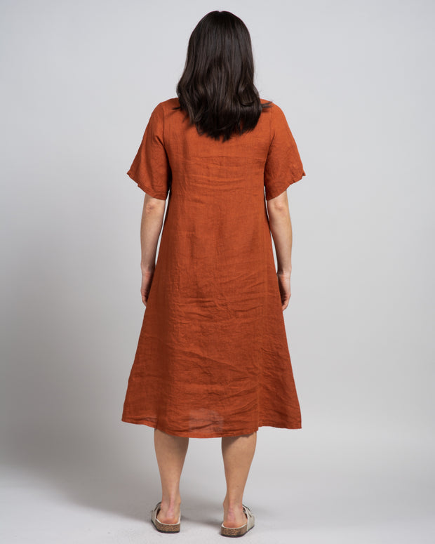 Bottone Dress in Baked Clay