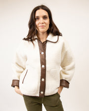 Sherpa Vegan Leather Jacket in White
